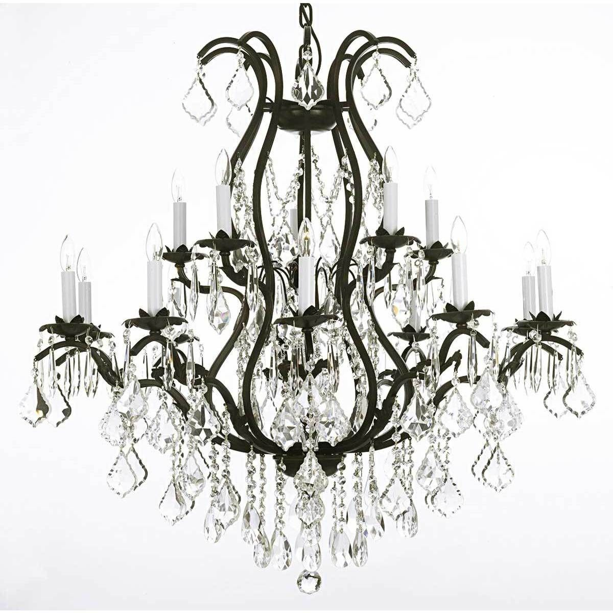 Gallery versailles wrought iron and crystal 15 light chandelier gallery versailles wrought iron and crystal 15 light chandelier black glass arubaitofo Images