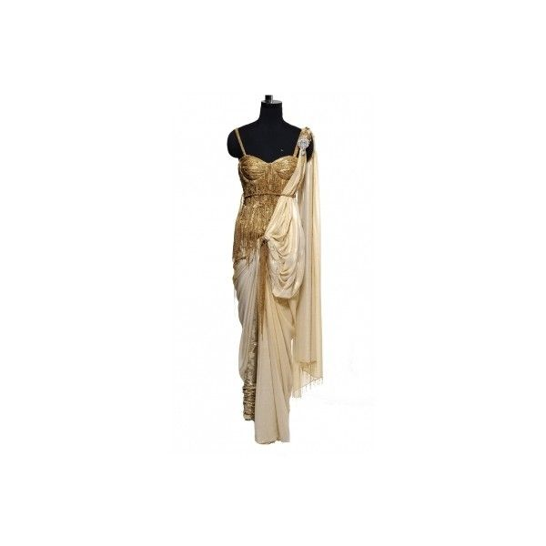 Cream and Golden Saree ($1,160) ❤ liked on Polyvore featuring dresses