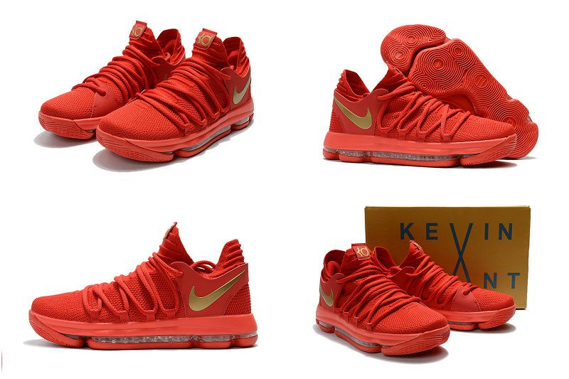 best website 92832 92911 Cheapest And Latest 2018 Spring Nike KD 10 X University Red Metallic Gold