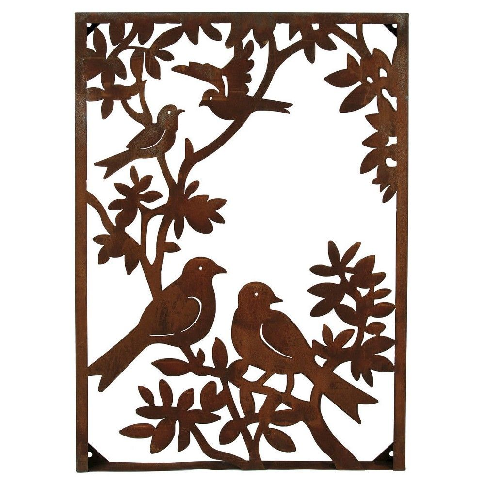 Foreside home garden metal birds on a tree vertical wall art bronze golden