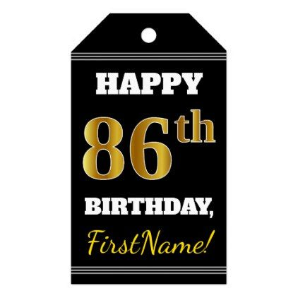 Black Faux Gold 86th Birthday  Custom Name Gift Tags - faux gifts style sample design cyo