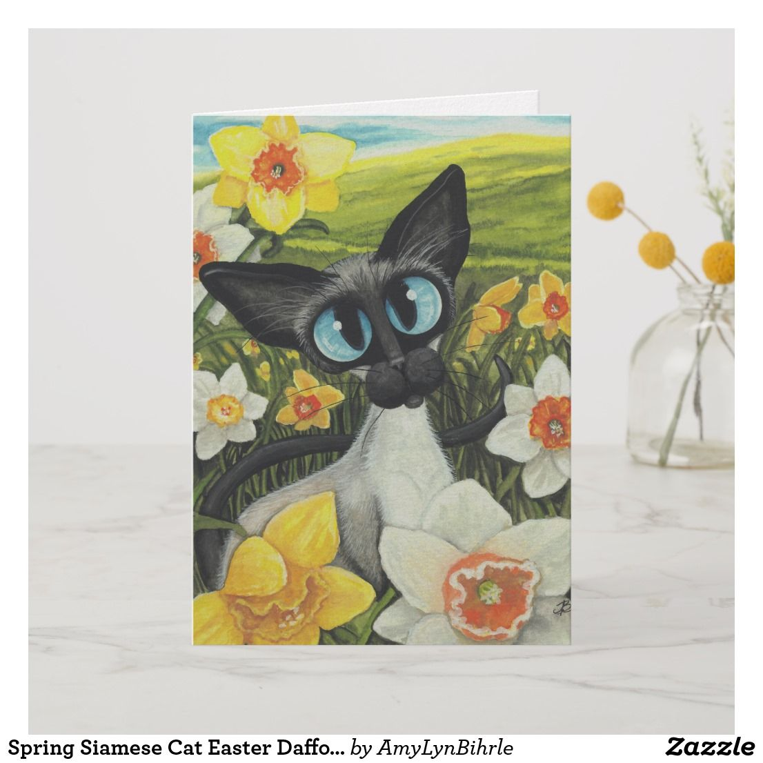 Spring Siamese Cat Easter Daffodils By Bihrle Holiday Card
