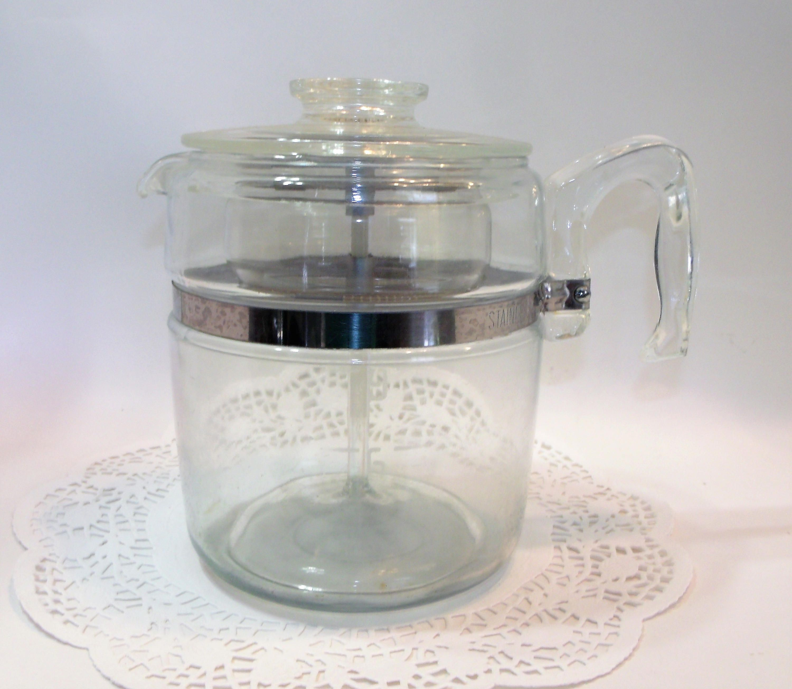 Vintage Pyrex Clear Glass Stove Top Percolator Coffee Pot