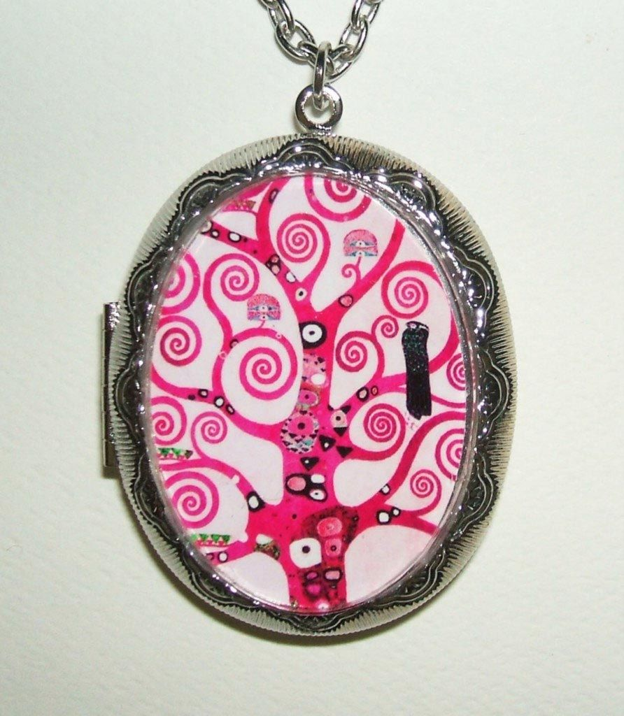 Pink TREE Of LIFE Necklace LOCKET Pendant