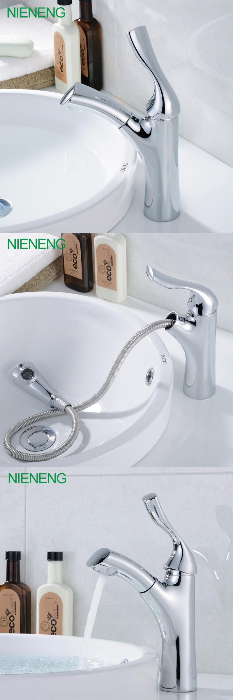 NIENENG bathroom faucet wash taps pull out sprayer mixer hot water ...