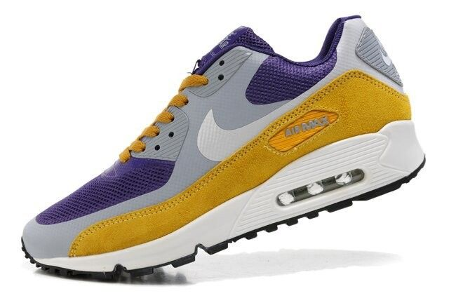 Cheap Authentic Nike Air Max 90 Hyperfuse Premium Mens Purple And Cool Grey  Brown Sneaker Sale Outlet Store