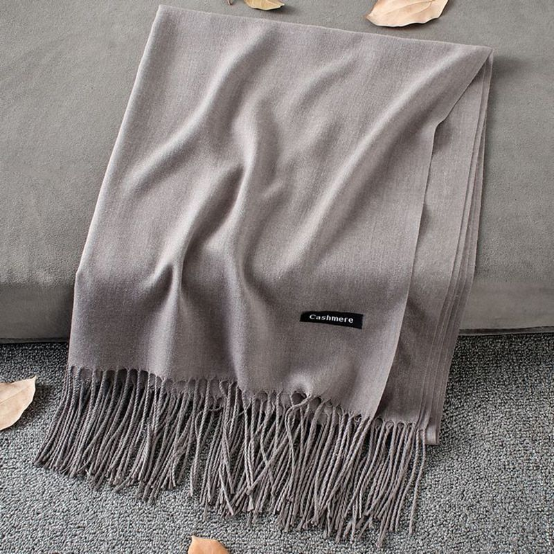 Scarves Solid Color Wraps Thin Long Scarf with Tassel SF