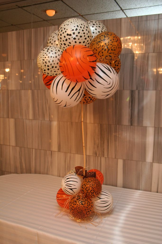 Safari theme party centerpiece balloons pinterest