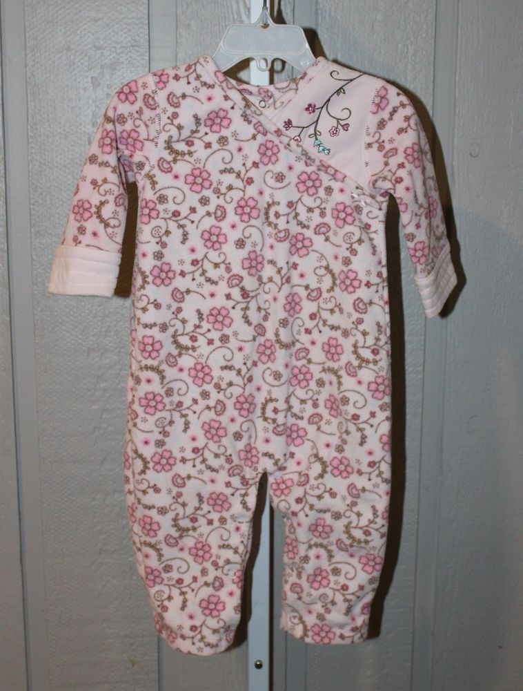 CARTER S 12 Months Pink Floral Fleece One Piece Long Sleeve Pajamas  Carters   OnePiece d3b2c4a1a