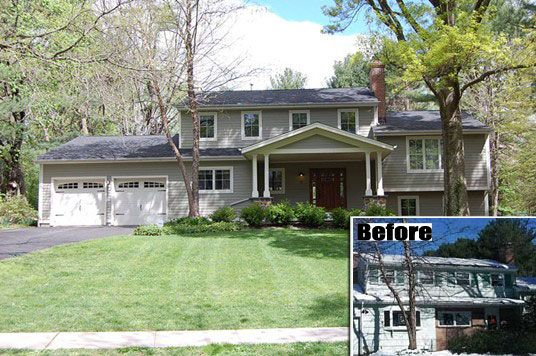 Split level exterior remodel from dated to dreamy for Split level ranch remodel