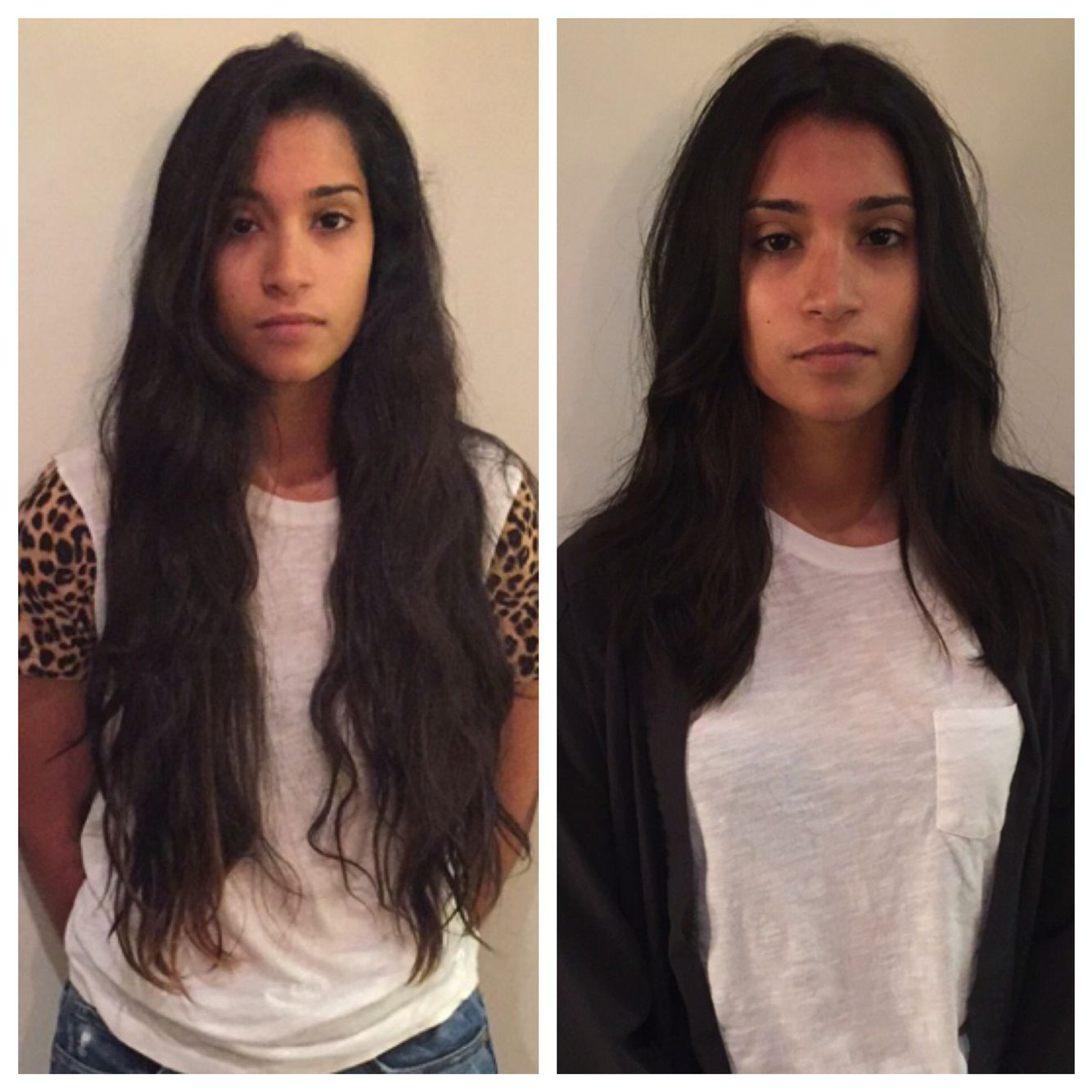 haircut. before and after. razor cut. long layers. messy
