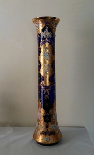 Rare-Museum-Quality-30-Moser-Monumental-Gilt-Applied-Flowers-Decorated-Vase