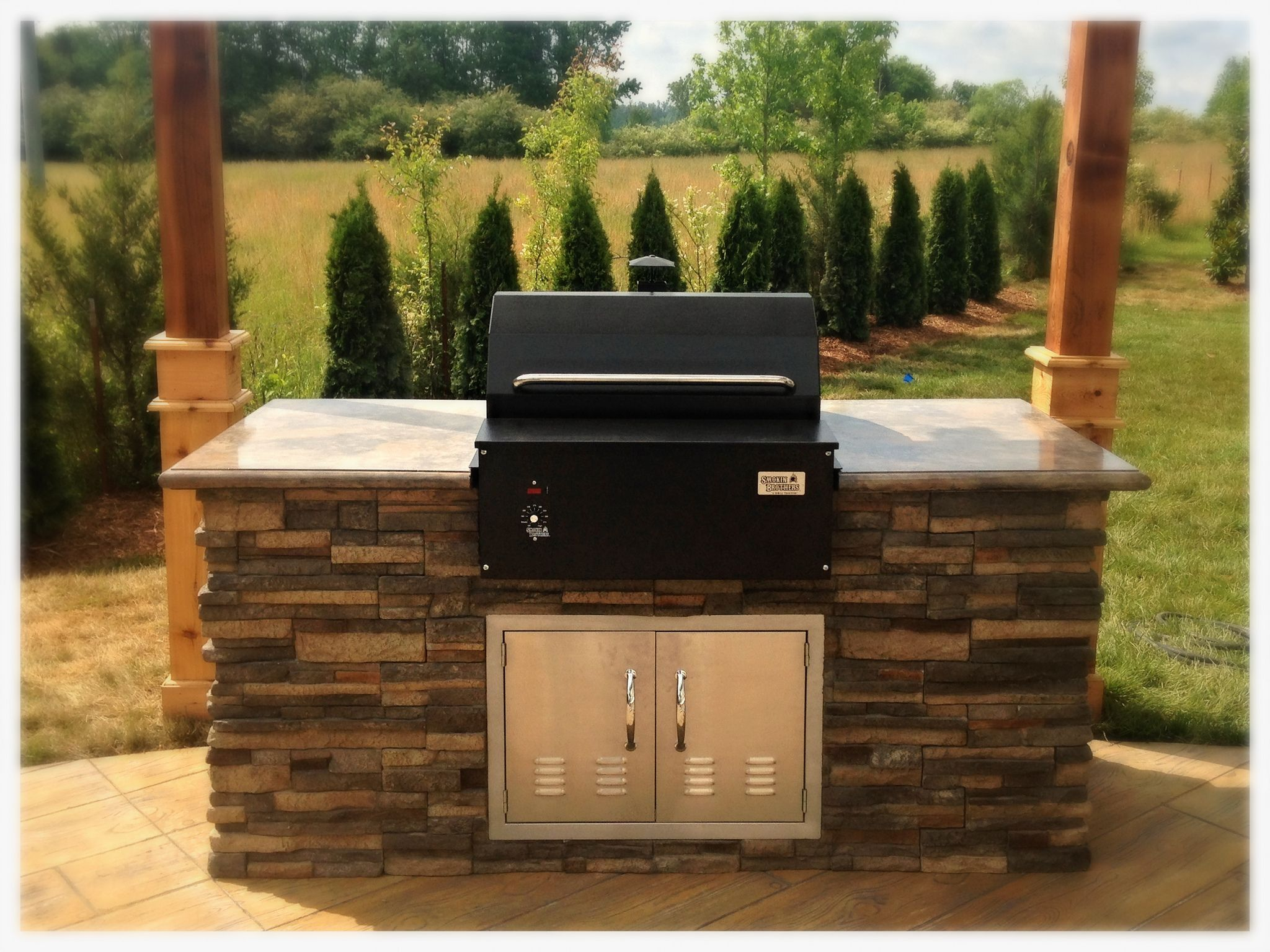 Smokin Brothers Built In Pellet Grill Smoker Apison Tn Built In Grill Hearth And Patio Diy Outdoor Kitchen