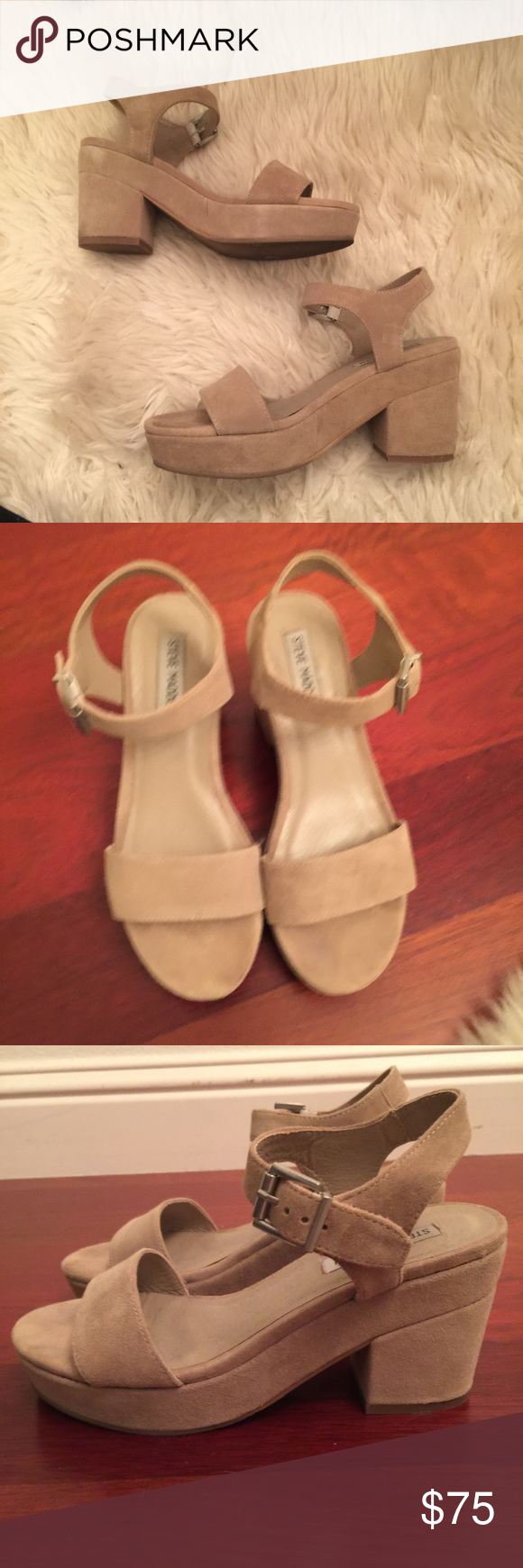 nude heeled sandals Steve Madden ashlin platform sandals worn once great condition very comfy Steve Madden Shoes Sandals