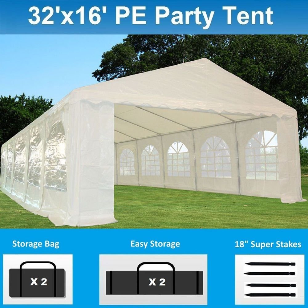 Details About 32 X 16 Pe Party Tent Heavy Duty Carport Canopy Wedding Shelter White Carport Canopy Tent Tent Storage