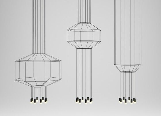 A compelling exploration of immateriality, of presence and absence, Arik Levy's 'Wireflow' series of LED pendant lights for Vibia reduce, reduce, reduce, mapping out space in three dimensions through the most delicate of wire frames