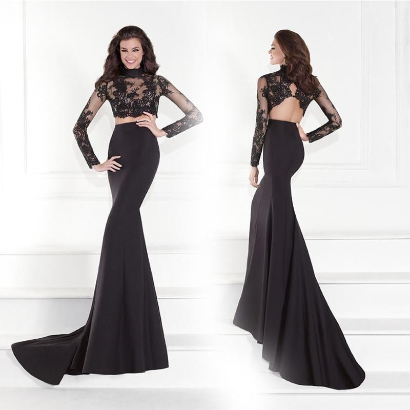 Discount Black Two Piece Long Prom Dresses 2015 Sheer High Neck Prom ...