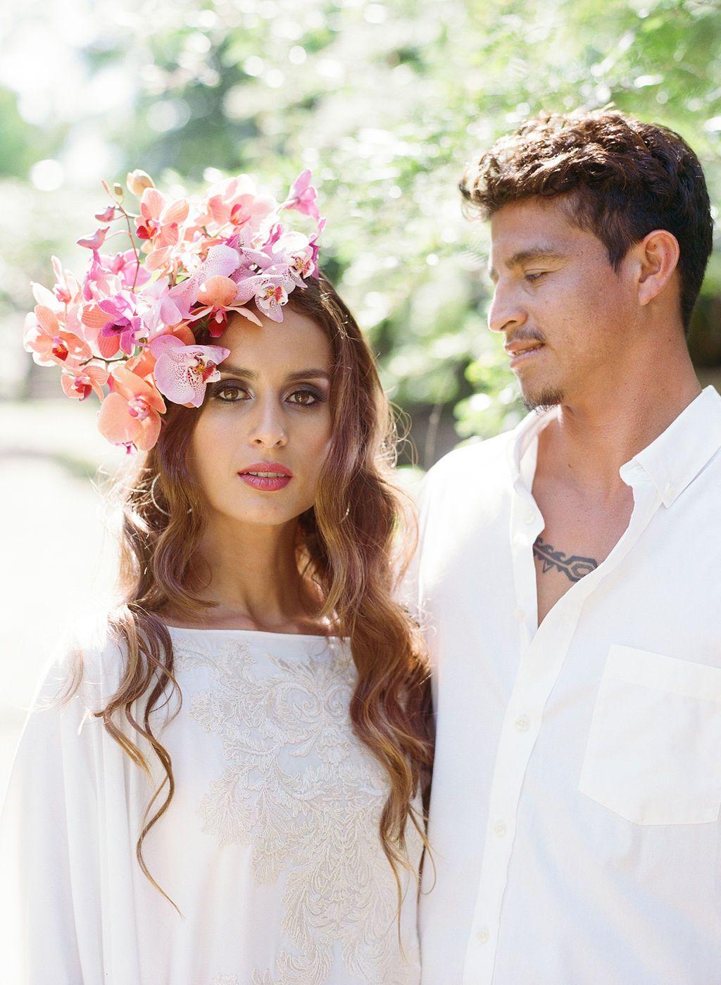 Bridal Headpiece Orchid Crown Statement Wedding Hair Style Long Down In 2020 Tropical Beach Wedding Wedding Beach Wedding