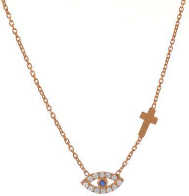 Κολιέ με ματάκι και σταρουδάκι από ρόζ επιχρυσωμένο ασήμι με πέτρες ζιργκόν 5321195f9e3