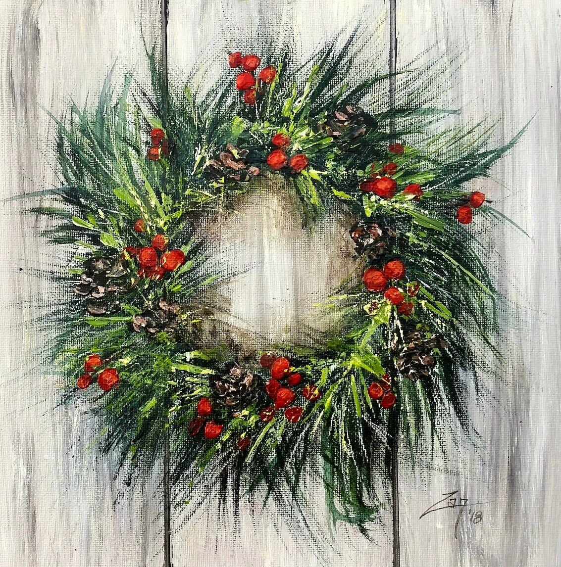 Acrylic Festive Wreath Diy Christmas Paintings Christmas Paintings Christmas Paintings On Canvas