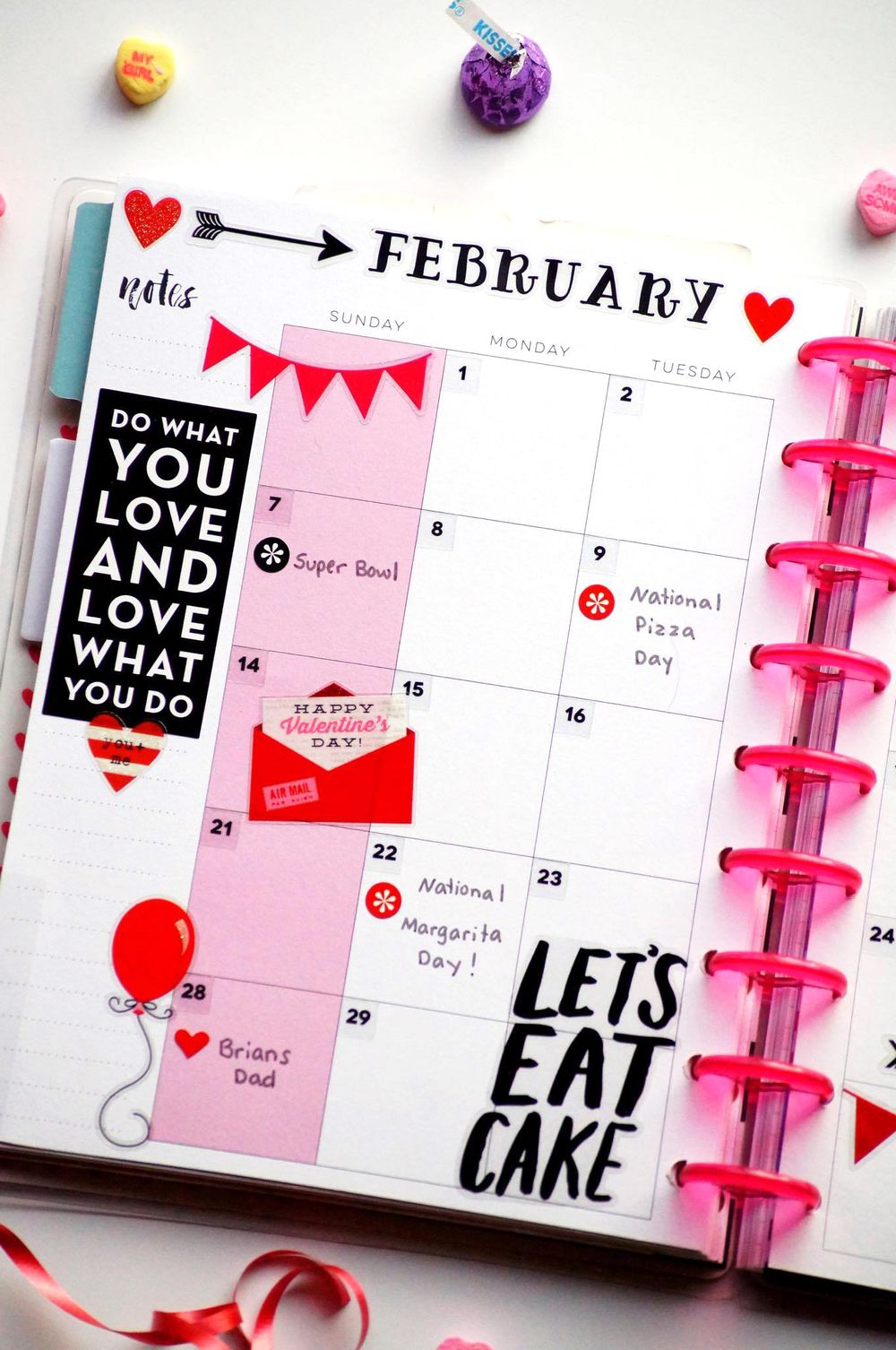 V-day & B-days themed February monthly layout in The Happy Planner™ of mambi Design Team member Megan McKenna | me & my BIG ideas