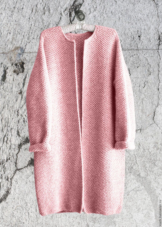 купить пальто оверсайз вязаное норка розовый цвет бледно розовый