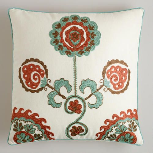 This Is A Fun Pillow Aqua Embroidered Flower Throw Pillow From Cost Plus World Market Flower Throw Pillows Throw Pillows Affordable Decorative Pillows