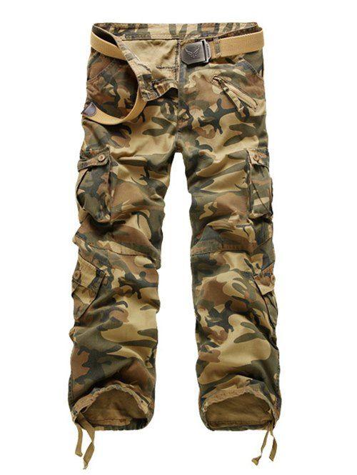 f6f049ff36087 Zipper Fly Straight Leg Multi-Pockets Embellished Camouflage Pants ...