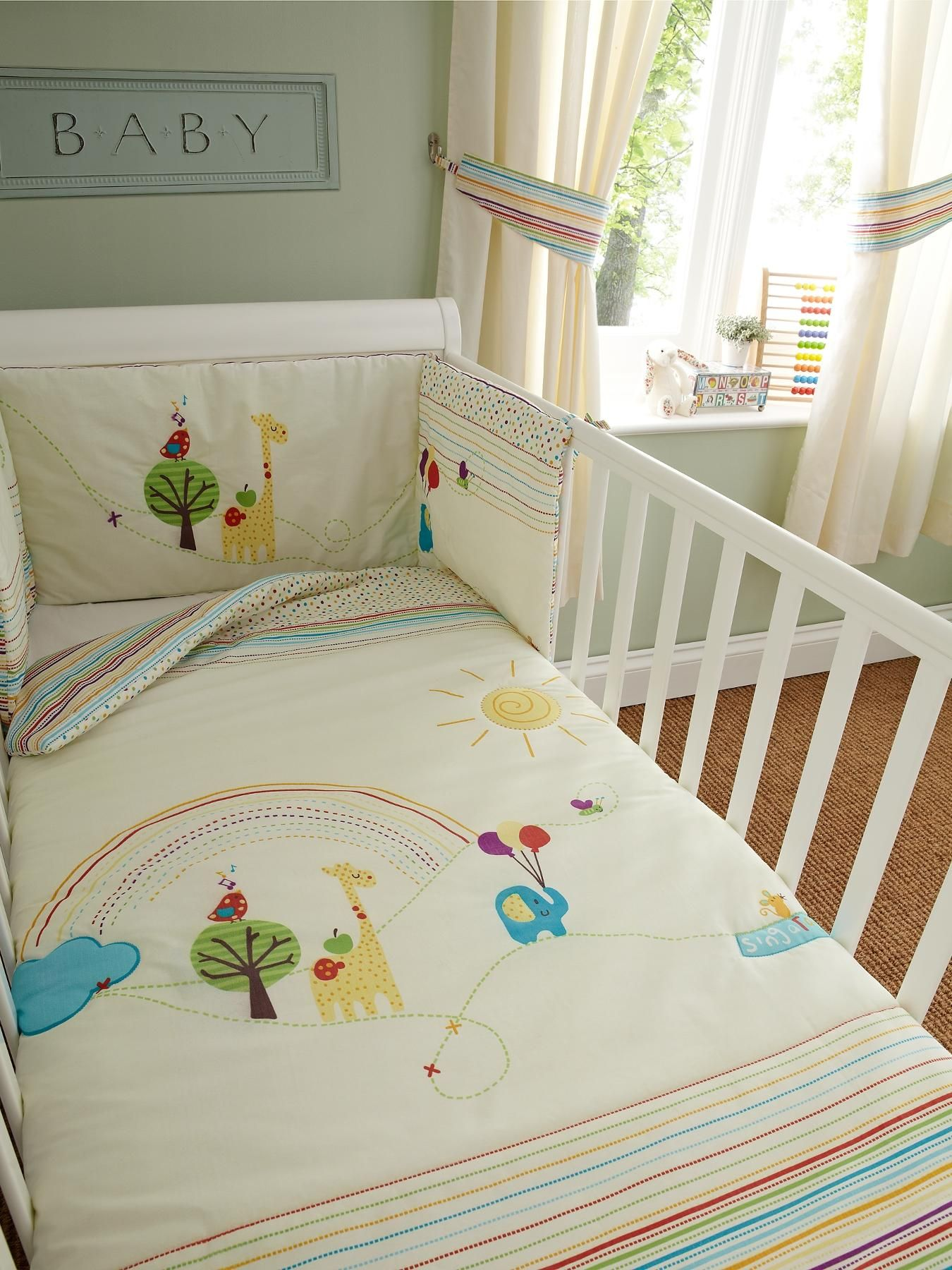 NEW VINTAGE BIRDS WITH GINGHAM backing  CRIB//COT OR COT BED  BEDDING SET