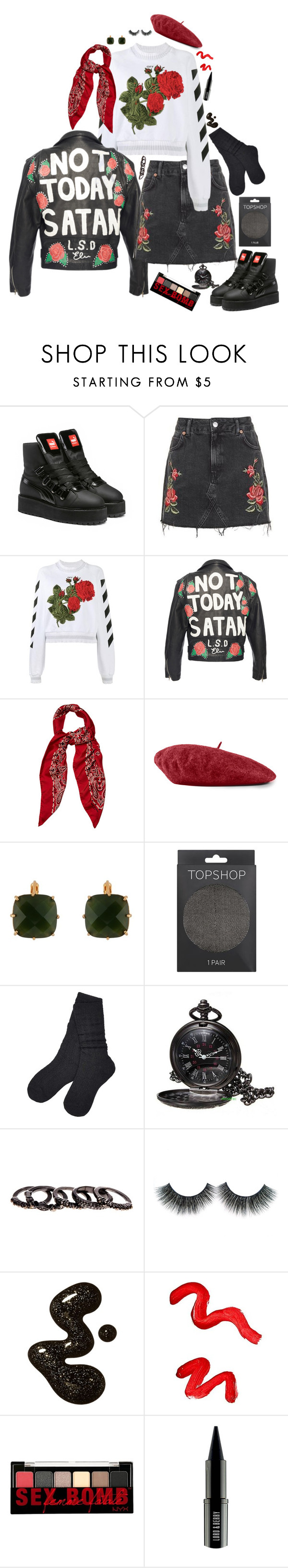 """""""Day 104"""" by alexosterberg ❤ liked on Polyvore featuring Puma, Topshop, Off-White, Yves Saint Laurent, Gucci, Les Néréides, UGG, Free Press, NYX and Lord & Berry"""