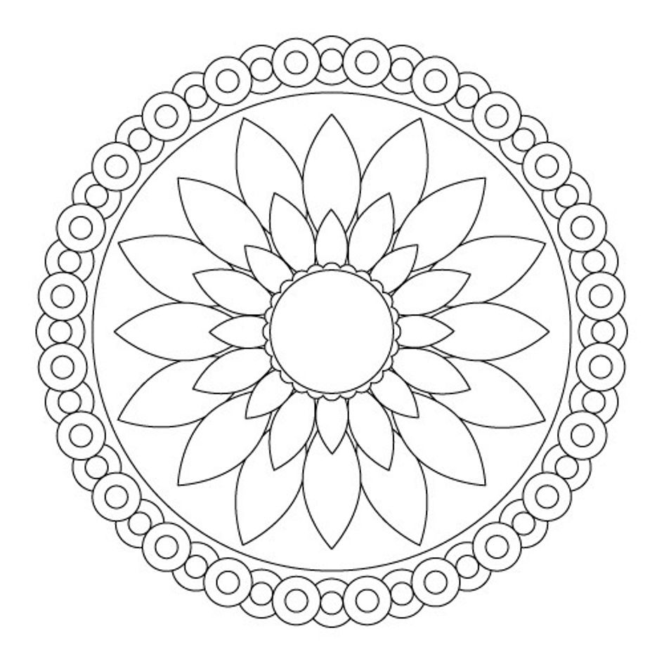 Mandala Pictures Simple Coloring Pages Printable Labe Design