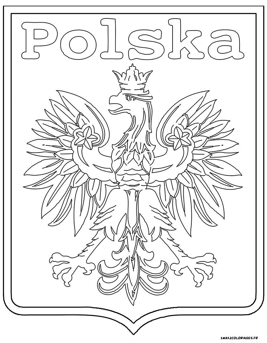 Euro 2016 Logo De L Equipe De Pologne A Colorier Polish Language Flag Crafts Coloring Books