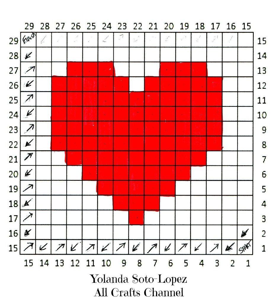 Crochet Heart - Easy C2C (corner to corner) Heart Square pattern