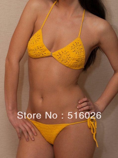 db27d26f97db Otro traje de baño amarillo canario tejido en crochet. | bikini ...