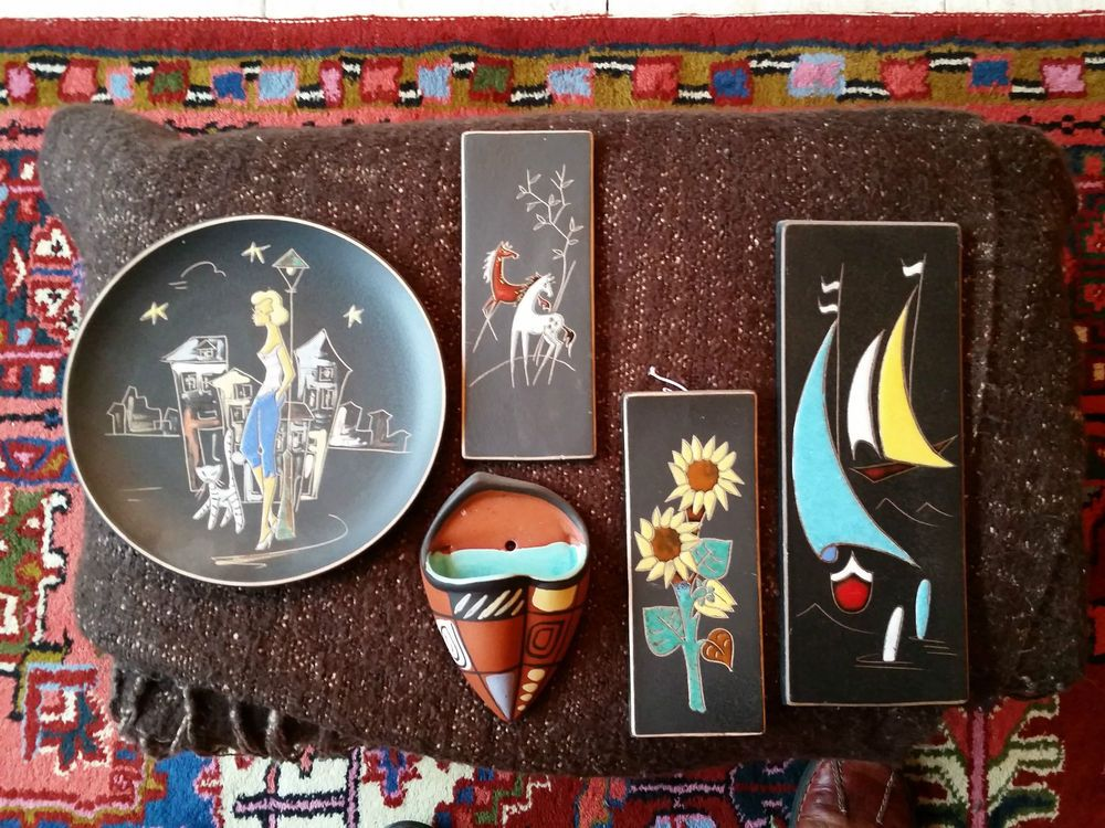 RUSCHA Sammlung 5 TeileTeller Wandteller Kachel Wandvase Vase Wandbild Alt Antik