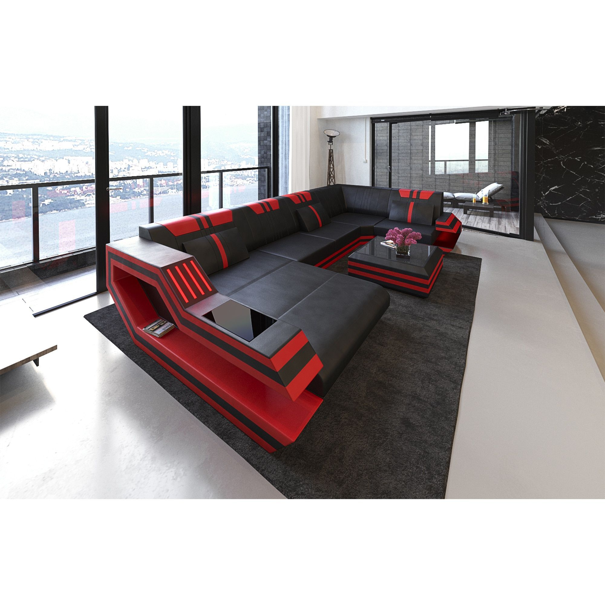 Sectional Sofa u0027Hollywoodu0027 with LED Lights and