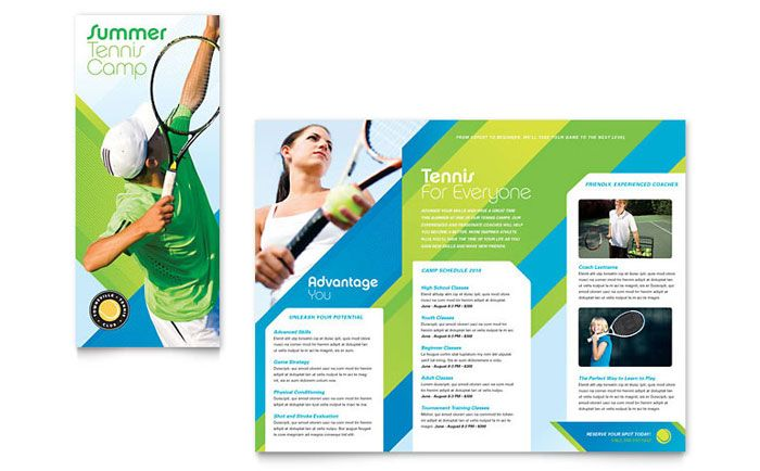Tennis Club And Camp Tri Fold Brochure Design Template By