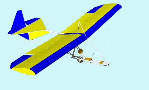 """UL TRAINER Primary type glider UL-TRAINER is an ultralight glider for learning how to fly with """"low efficiency glider"""". It can be launched by bungee rope, by aerotow, or rolling down the slope. Materials: aluminum tubes, Dacron Similar existing constructions: BUG 2-4, GOAT, Super Floater, but all of them are much efficient-they can soar, but UL-Trainer cant :-(  This construction was strongly induced by excelent work of """"Mike Sandlin and his BUG and X-gliders"""""""