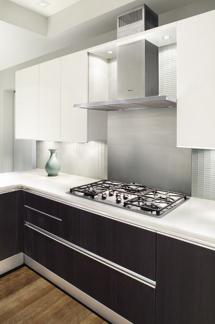 Modern Kitchen. Use Plate Steel Countertops And Black Gloss Small  Rectangular Backsplash