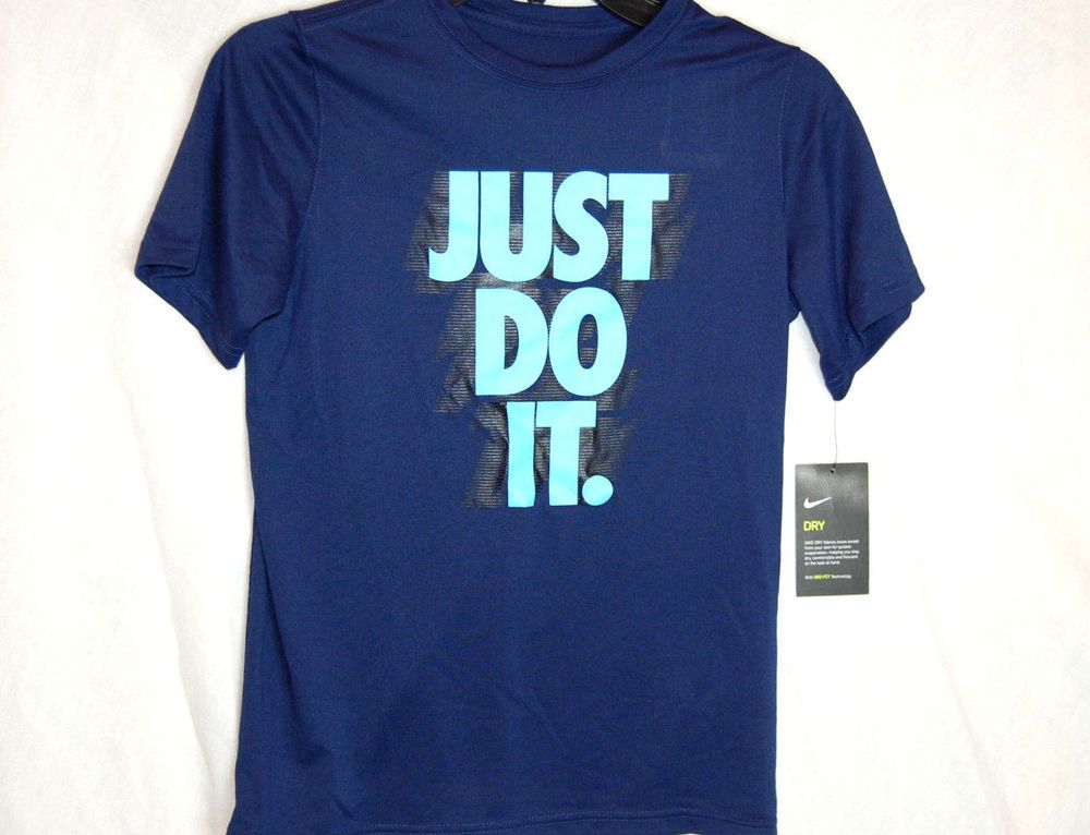 532b88abb Nike Just Do It Graphic Tee Size Large Boys Blue Short Sleeves New NWT #Nike