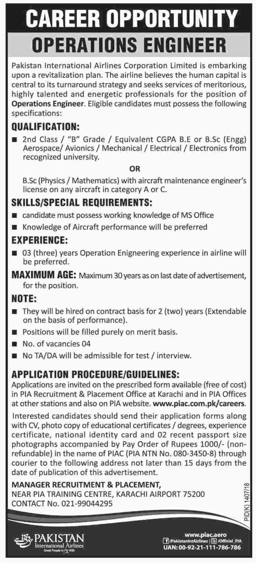 Pakistan International Airlines Jobs  In Karachi For
