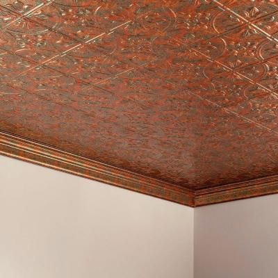 Fasade Traditional 2 - 2 ft. x 4 ft. Glue-up Ceiling Tile in Copper Fantasy - G51-11 at The Home Depot