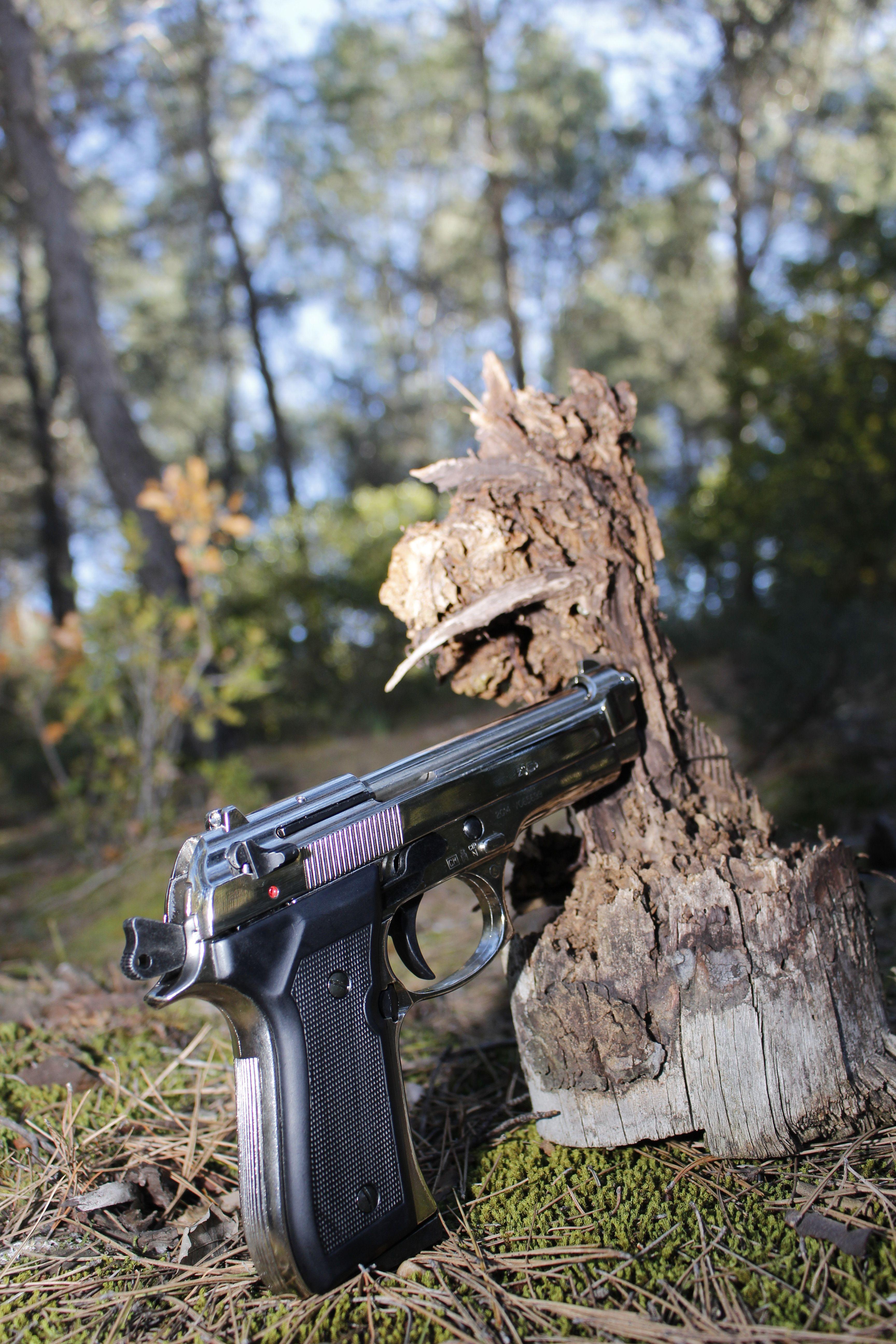 pistola en la naturaleza, contrastes, fotografia artistica.