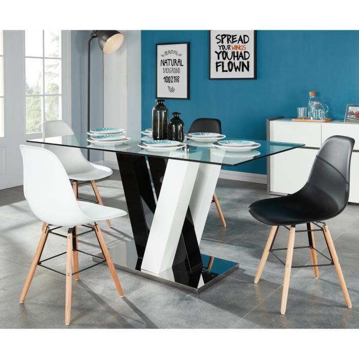 ce7910425a1 SKYLINE Table à manger 6 personnes 150x90 cm - Verre + noir et blanc  brillant - Achat   Vente table a manger seule SKYLINE Table à manger -  Cdiscount