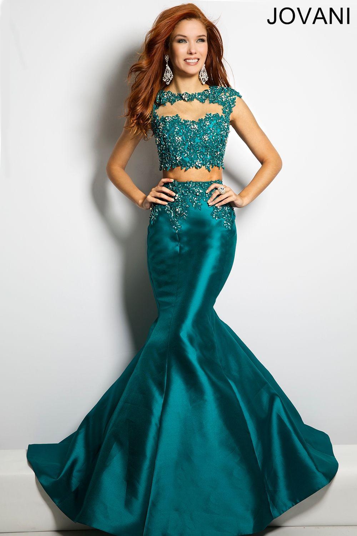 Radiant two-piece mermaid taffeta cap sleeve dress features a ...