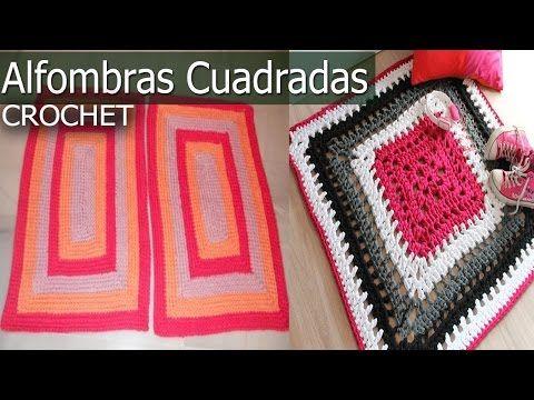 Alfombras Cuadrada y Rectangular - Tejidas a Crochet y Dos agujas