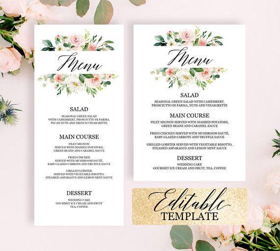 bridal shower menu template editable printable blush pink greenery floral bridal shower brunch menu
