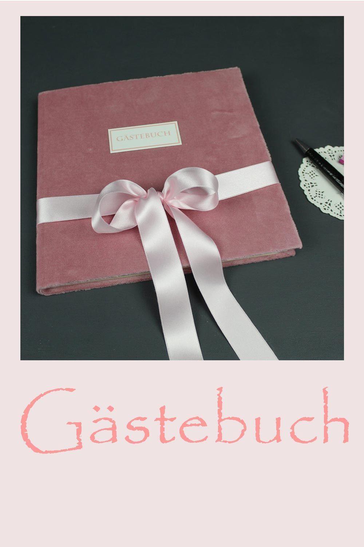Quadratisches Altrosa Gastebuch Mit Samtbezug Und Schleife Gastebuch Hochzeit Altrosa Bucher