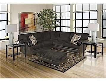 Meet The Midtown Avatar Black Sectional From Bushline. This Group Includes  A Sofa, Ottoman, Coffee Table, 2 End Tables And Lamps And Rug.