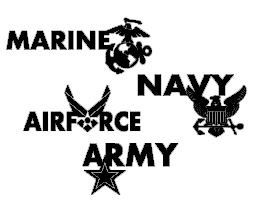 Military Branch Vinyl Car Decals/Stickers Army Navy